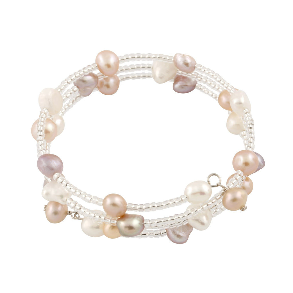 Multi-Color Freshwater Pearl and Glass Bead Wrap Bracelet