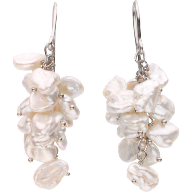Drop Earrings: White Keshi Pearls: 66597