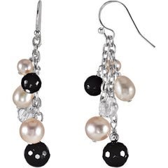 Drop Earrings: Crystal, Pearl and Onyx: 69979
