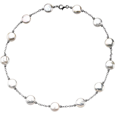 Coin Pearl Necklace: Classic White