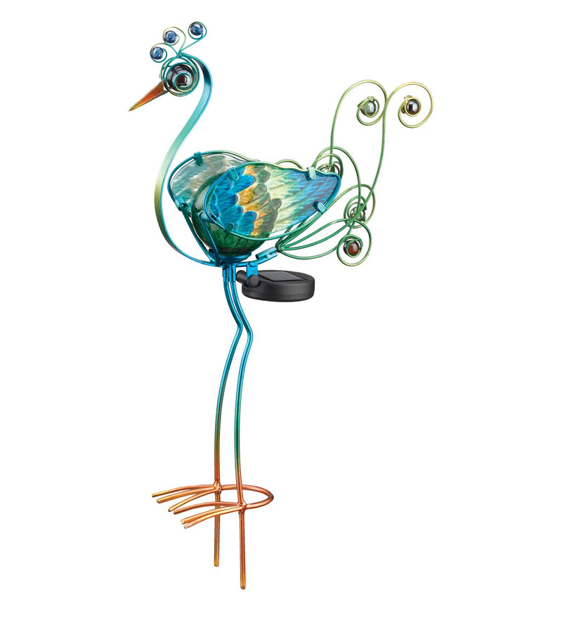"21"" Solar Peacock Stake by Regal - YourGardenStop"