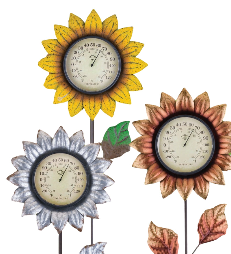 Flower Thermometer Stake by Regal (Yellow, Galvanized & Copper) - YourGardenStop