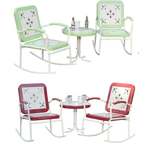 Retro Patio 3 Piece Metal Rocking Chair Set (Mint or Cherry) - YourGardenStop
