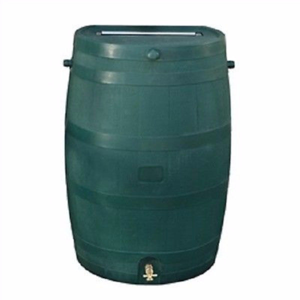 50-Gallon Oak Wood Style Rain Barrel in Green Plastic - YourGardenStop