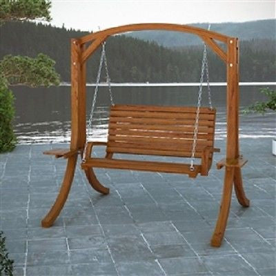 Cinnamon Brown Heavy Duty Rustic Solid Wood Porch Swing - YourGardenStop