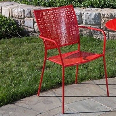 Set of 2 - Steel Outdoor Stackable Dining Arm Chair in Red Cherry - YourGardenStop