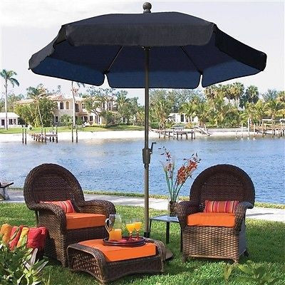 7.5-Ft Patio Umbrella with Tilt Navy Shade - YourGardenStop