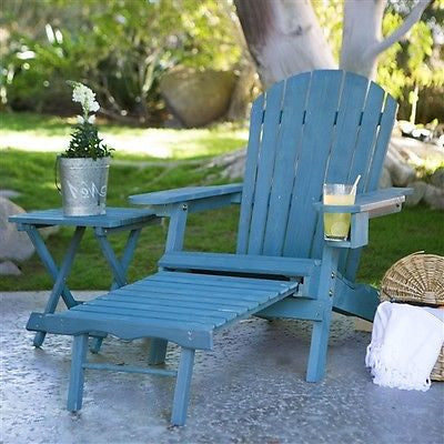 Blue-Stain Wood Adirondack Chair with Pull Out Ottoman and Built in Cup Holder - YourGardenStop