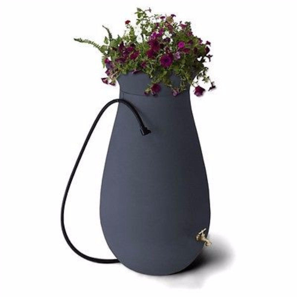 65-Gallon Plastic Rain Barrel in Charcoal Stone Color - YourGardenStop