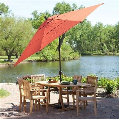 11-Ft Patio Umbrella with Brick Red Canopy - YourGardenStop