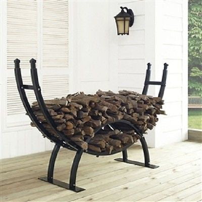 Round Crescent Firewood Rack - One Fourth Cord Log Storage - YourGardenStop