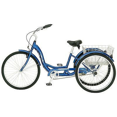Blue Mens Womens Cruiser Style 3-Wheel Tricycle Bike with Basket - YourGardenStop