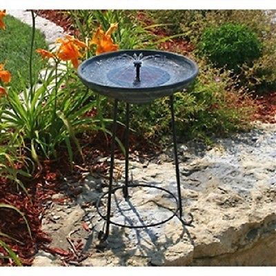 Matte Black Bowl Solar Fountain Bird Bath with Wrought Iron Stand - YourGardenStop