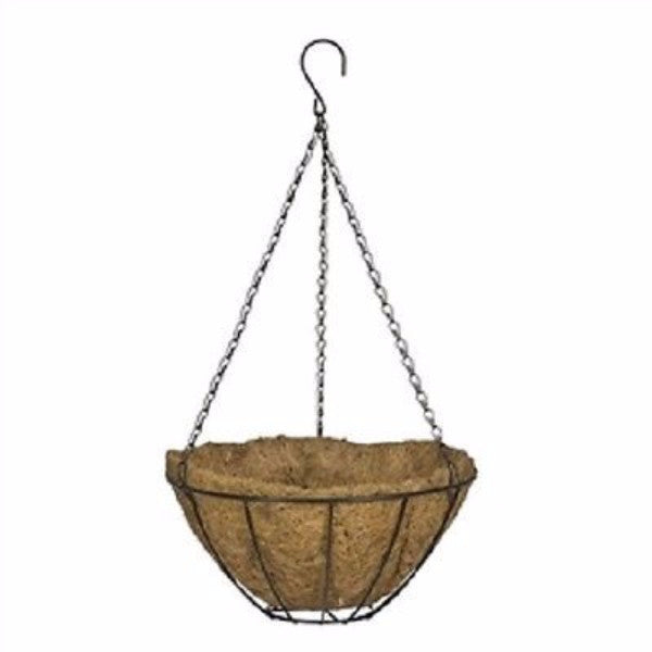 12-inch Classic Metal Hanging Planter Basket in Black - YourGardenStop