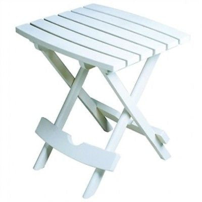Outdoor Fast Folding Patio Side Table in White Weather Resistant Resin - YourGardenStop