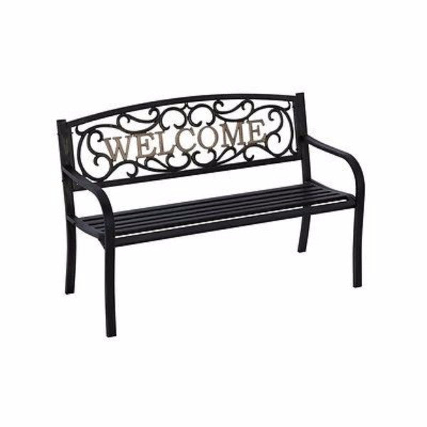 Cast Iron Welcome Park Bench in Black Bronze - YourGardenStop