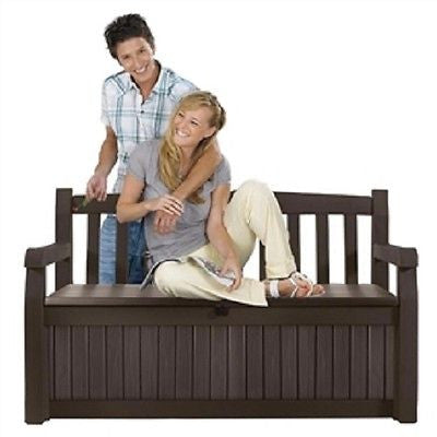 Outdoor Garden Bench with Arm Rest and Storage Box in Dark Brown - YourGardenStop
