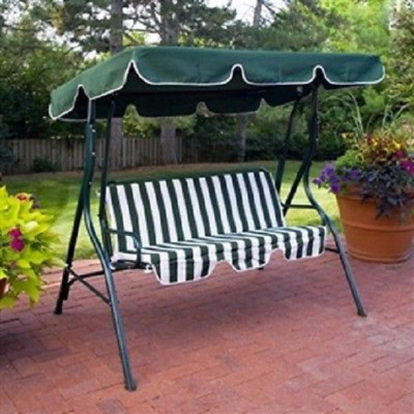 2-Person Swing with Canopy in Green & White - YourGardenStop