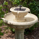 2-Tier Solar Fountain Bird Bath in Weather Resistant Fiberglass Resin - YourGardenStop