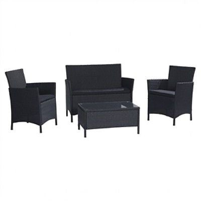 4-Piece Patio Furniture Set in Outdoor Resin Wicker w/Black Cushions - YourGardenStop