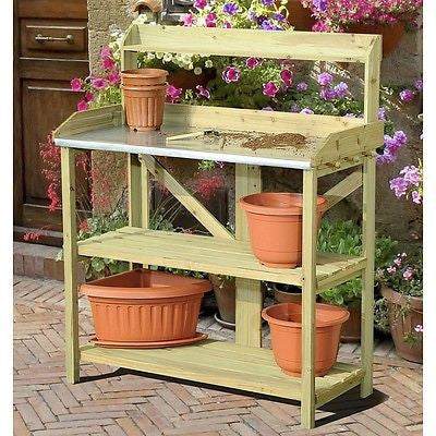 Wood Potting Bench with Metal Top with Storage Pegs - YourGardenStop