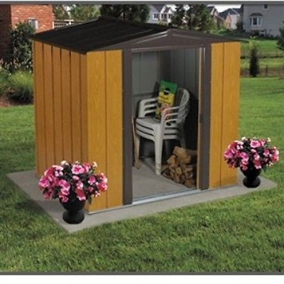 Woodgrain Finish Steel Metal Storage Shed - Made in USA - YourGardenStop