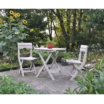3-Piece Easy Fold Outdoor Bistro Set in Desert Clay - YourGardenStop