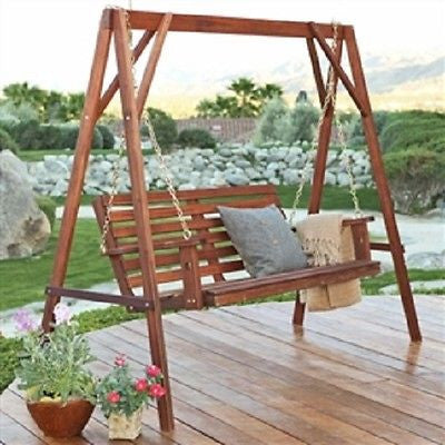 5-Ft Wood Porch Swing with Stand with Oil Stain Finish - YourGardenStop