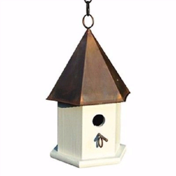 White Wood Songbird Birdhouse with Brown Copper Roof - YourGardenStop