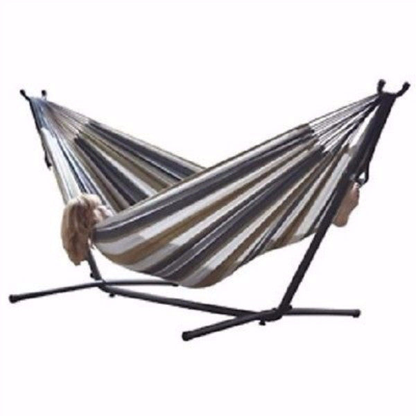 Desert Moon Pattern Cotton Hammock with 9-FT Steel Stand - YourGardenStop