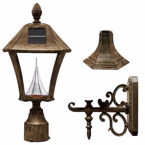 "Gama Sonic Baytown Solar Light with Wall/Post/3"" Fitter Mount in Bronze - YourGardenStop"