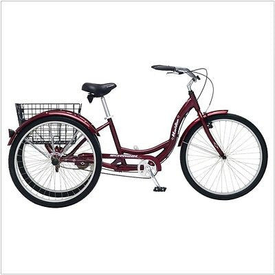 Black Cherry Single Speed Adult 3-Wheel Cruiser Bike Tricycle with Basket - YourGardenStop