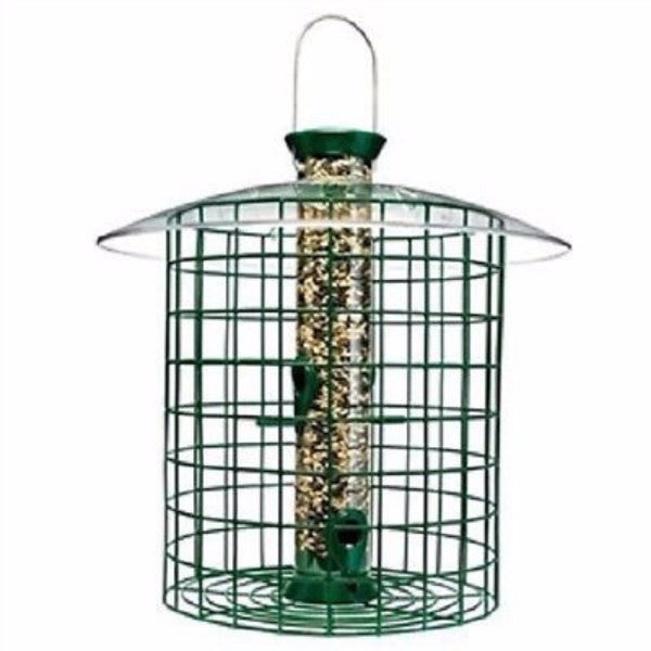 Wild Bird Feeder with Domed Cage in Green - YourGardenStop