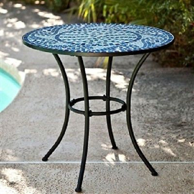30-inch Round Metal Bistro Patio Table with Blue Tiles - YourGardenStop