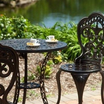 3 Piece Cast Aluminum Outdoor Bistro Set with Table and 2 Chairs - YourGardenStop
