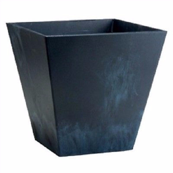 Contemporary 12-inch Square Planter in Black Plastic - YourGardenStop