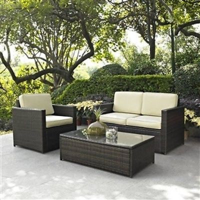 3-Piece Patio Set with Chair Loveseat & Cocktail Table - YourGardenStop