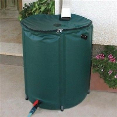 Collapsible 50-Gallon Rain Barrel with Zippered Top in Green Color - YourGardenStop