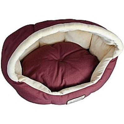 18-inch Burgundy & Beige Small Dog & Cat Bed - YourGardenStop