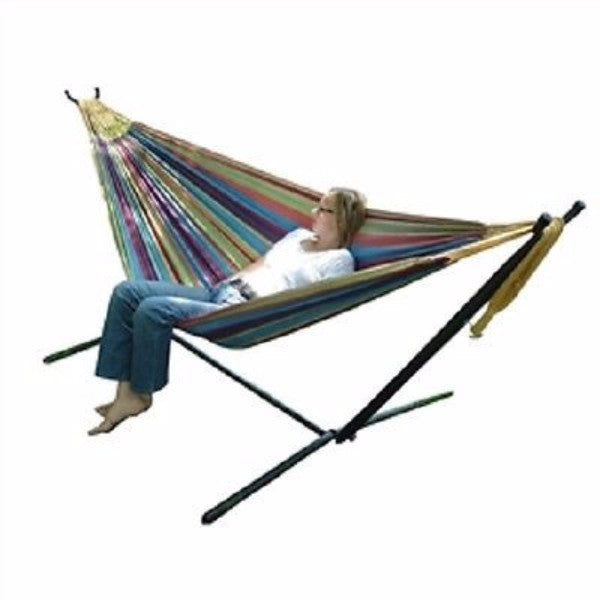 Tropical Fabric Double Hammock with 9-Foot Steel Stand - YourGardenStop