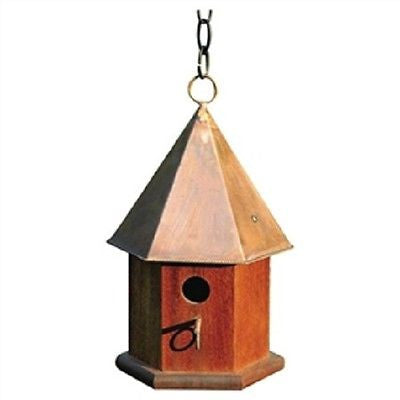 Mahogany Wood Songbird Birdhouse with Shiny Copper Roof - YourGardenStop