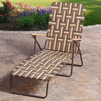 Outdoor Retro Beach Chair Chaise Lounge in Brown and Cream - YourGardenStop