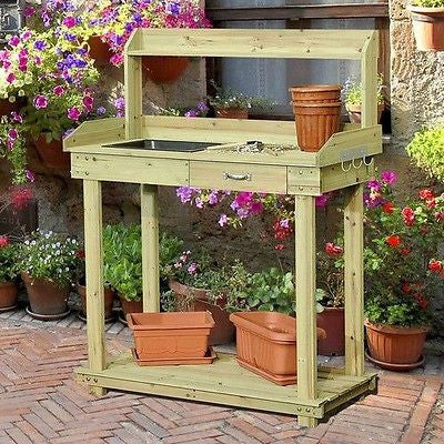 Natural Wood Potting Bench Table with Sink and Outdoor Storage Space - YourGardenStop