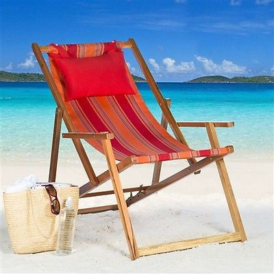 Sunrise Stripe Beach Reclining Chair with Pillows - YourGardenStop
