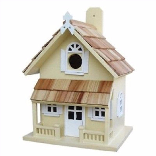 Yellow Victorian Cottage Wood Outdoor Birdhouse - YourGardenStop