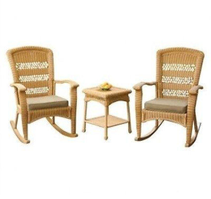 3-Piece Outdoor Porch Rocker Set w/ 2 Amber Wicker Resin Rocking Chairs & Table - YourGardenStop