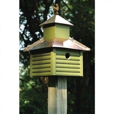 Pinion Green Birdhouse with White / Bright Copper Roof and Rooster Top - YourGardenStop