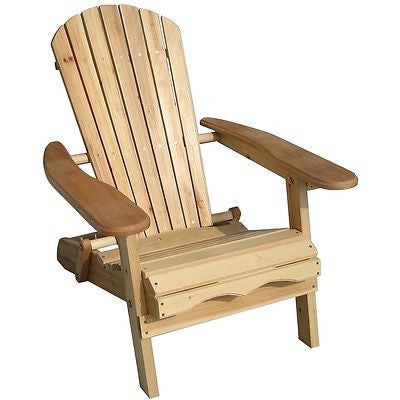 Folding Adirondack Chair for Patio Garden in Natural Wood Finish - YourGardenStop