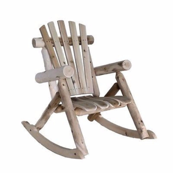 Natural Cedar Log Adirondack Style Rocking Chair - YourGardenStop