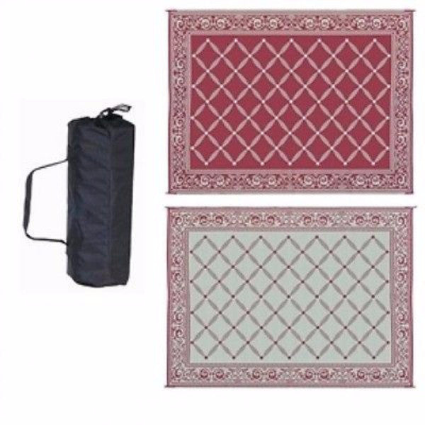 9 x 12 Foot Reversible Garden Mat in Burgundy Red Beige - YourGardenStop